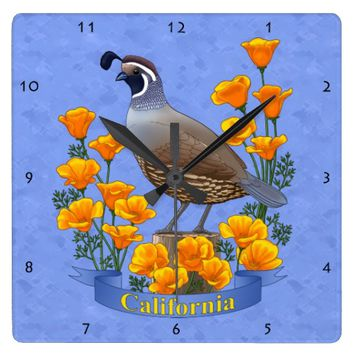 California State Bird Quail & Golden Poppy Square Wall Clock
