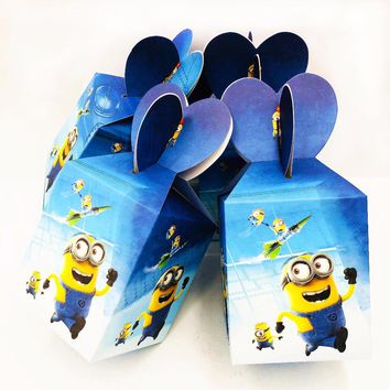 6pcs/set Minions Candy Box kids birthday party supplies candy case Gift Box Favor Accessory Hot Happy Birthday Party decoration