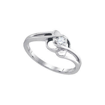 10kt White Gold Womens Round Diamond Solitaire Promise Bridal Ring 1/6 Cttw 90037