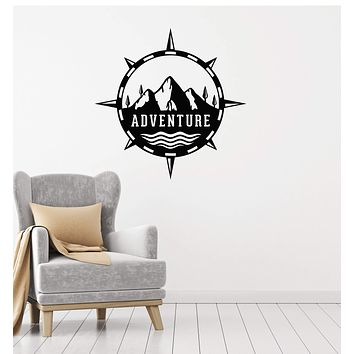 Vinyl Wall Decal Adventure Compass Tourism Mountains Nature Stickers Mural (ig5417)