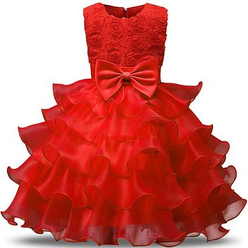 Newborn Baby Girl Red Dress For 1st Birthday Dress Toddler Kids Clothes For Girl Infant Party Costume Little Girl Wedding Gown