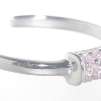 925 Sterling Silver Toe Ring Pink CZ Cubic Zirconia Cluster