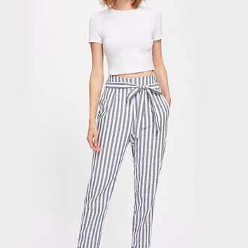 Striped High Waisted Trousers