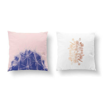 SET of 2 Pillows, Single Cactus Pink, Gold Pillow, Botanical Art, Floral Ornament, Bed Pillow, Throw Pillow, Cushion Cover, Flower Pillow