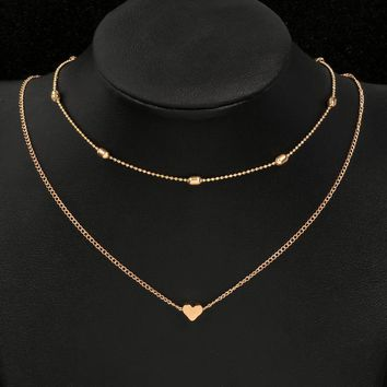 MINHIN Love Heart Choker Necklace for Women Gold Silver Chain Mini Love Necklace Wedding Bohemian Chocker Necklace Collar
