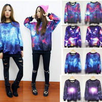 Chic Women's Galaxy Space Starry Print long Sleeve Top Round T Shirt Jumper Top-