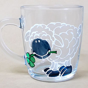 Sheep Coffee Mug. Tea glass cup 11 1/4 oz. Hand Painted Colorful Mug- White, green, frost, Abyss Black . Birthday gift. Home decor.