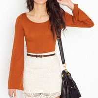 Bell Sleeve Tee - Rust - NASTY GAL