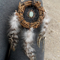 Small Grapevine Dream Catcher with Amazonite Crystal Gemstone // Car Rear View Mirror Home Decor Hippie Boho Gypsy