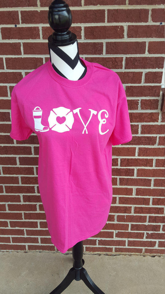 firefighter love shirt  firefighter wife  from elleqdesigns on