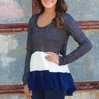 Metallic Ruffle Sweater {Navy}