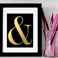 Faux Gold Foil Ampersand Wall Art - Black and Gold Ampersand Typography Printable Home Decor - & Digital Art Print - INSTANT DOWNLOAD