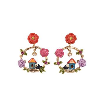 les nereides Enamel glaze bird house  red Flower 925 Silver Pin Women Earring stud New Arrival