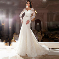 Lace Backless Wedding Dress 2017 New Sweetheart Appliqued vestido de noiva de renda robe de mariage Long Sleeve Wedding Gowns
