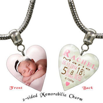 Custom photo charm, custom photo jewelry,  photo bracelet,  photo necklace, personalized charm, large hole charm, custom jewelry: D000140