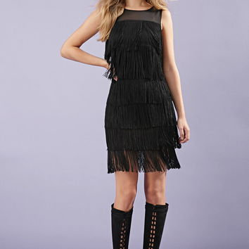 Fringed Mesh-Panel Dress