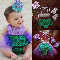 Princess Baby Girl Little Mermaid Sequins Costume Girls Dress summer baby girl clothes	0-4T