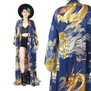 Vintage Japanese Kimono Asian Dragon Print Kimono Navy Blue Cotton Kimono Maxi Floor Length Robe Oriental Coat Tiger Duster Jacket (L/XL)