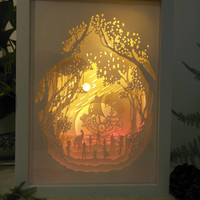 One Piece  inspired paper cut light box, 3d dream box,shadow box, papercut lightbox, night light, gift idea, room art decor