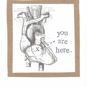 You Are Here Anatomy Heart Valentine Card Love Funny Medical Science Humor Nerdy Anatomical Gothic Horror Grunge Men For Him Doctor Nurse
