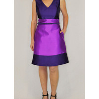 Ivy & Blu deep plum colorblock dress