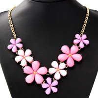 Acrylic Flowers Chain Collar Statement Pendant Necklace For Women