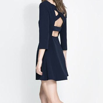 Dark Blue Half Sleeve Backless Back Cross A-Line Mini Dress