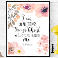 Philippians 4:13, I Can Do All Things, Bible Verse Art, Bible Print, Christian Print, Scripture Decor, Christian Art, Scripture Printable