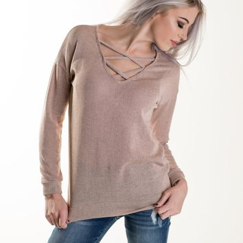 Double Criss Cross Spring Top in Light Peach