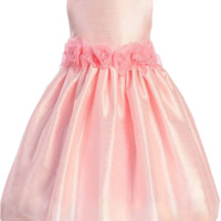 Pink Poly Silk Dress with Organza Flower Waist (Girls 2T to Size 8)