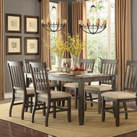 7 pc nantes collection wire brush greyish brown finish wood dining table set with upholstered seats