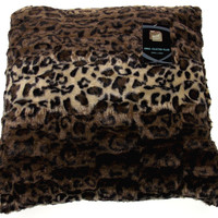Leopard Plush Throw Pillow Animal Collection 20x20 Polyester Living Room Sofa