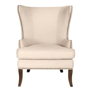 Transitional Style Wing Chair Featuring Linen Upholstery, Beige and brown