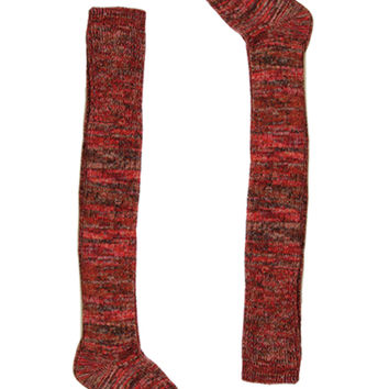Multi Color Over The Knee Boot Socks-Rust