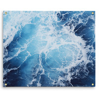 Blue Ocean Surf - Wall Tapestry, Deep Blue Seascape Nautical Decor, Coastal Style Interior Accent Tapestry Hanging. In Small Medium Large