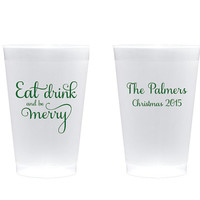 Christmas Cups 100 Set - Eat Drink and be Merry 14 Oz Shatterproof Plastic Cup Red Green Gold Silver Party Favors Personalized Custom Gift