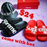 Supreme Suprize Design 14SS SLIDE SANDALS Women Red Black Slipper