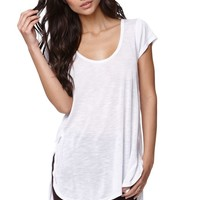 LA Hearts V-Neck Side Slit Tunic Top - Womens Tee - White