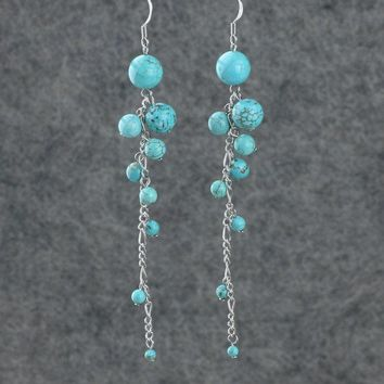 Turquoise big long chandelier statement earrings Bridesmaid gifts Free US Shipping handmade Anni designs