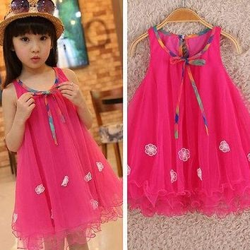 2016 New Beautiful Kids Girls Clothes Dresses Sleeveless Bow Summer Cool Floral Birthday Party Dress Beach 2 3 4 5 6 7 Years