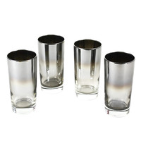 Mid-Century Collins Glasses, Silver Ombre Glaze, Vitreon Queens Lusterware, 1960s MCM