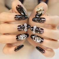 24 Pcs Black Lace Art Fake Nails for Bride = 1930217732