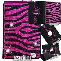 PINK ZEBRA Jersey Bling® iPad Mini Case with Crystals, Rhinestones Faux Leather Folio Case w/FREE Stylus & XTRA BLING!