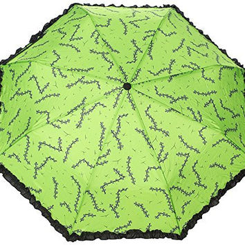 Sourpuss Stitches Green Frankenstein Rain Umbrella