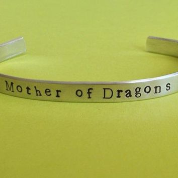 Mother Of Dragons   Game Of Thrones Inspired   Aluminium Cuff Bracelet   Hand Stamped   Customizable