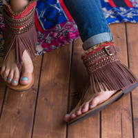 Poncho Boho Genuine Leather Sandals (Chocolate)