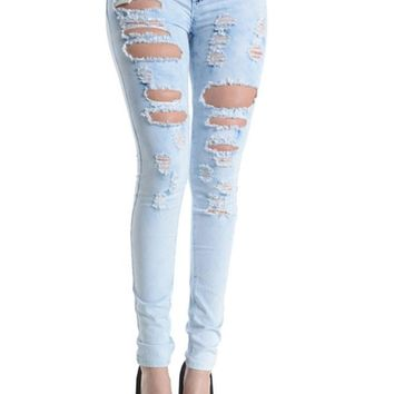 Washed Destroyed Skinny Jeans RJL341 - D8B