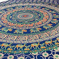 Indian Elephant Mandala Tapestry,hippie,bed Cover,, Bed Spread, Wall Art, Hand Made Bed Sheet, Hippy Wall Hanging Decorated Throw,curtain