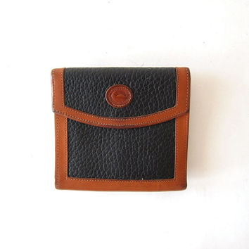 Vintage Dooney and Bourke Leather Wallet. Womens wallet. Blue & Brown leather wallet.