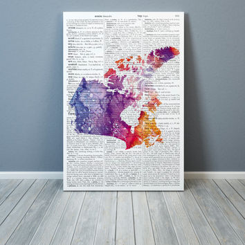 Canada Map poster Colorful decor Watercolor art print